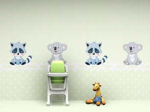 Sims 3 — Babys Nursery Wall 3 by Wimmie — 2 walls in one file with cute racoon and koala motifs. These walls are perfect