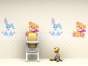 Sims 3 — Babys Nursery Wall 2 by Wimmie — 2 walls in one file with cute bunny and teddybear motifs. These walls are