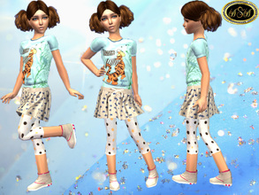 Sims 2 — ASA_Dress_87_CF by Gribko_Sveta — Vest with a tiger and a skirt for girls TS2