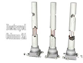 Sims 3 — Destroyed Column 2A by Kiolometro — Destroyed columns for your old house. One-floor-column placed as normal