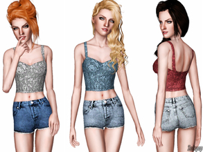 Sims 3 — Fashion Set 6 by zodapop — This set features button fly denim shorts and a cute floral textured crop top.