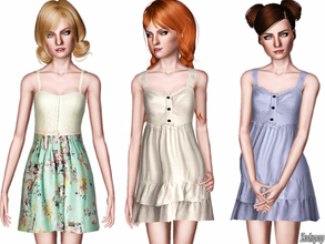 Sims 3 — (TEEN) Fashion Set 7 by zodapop — A set of two spring dresses for your teen sims. They feature cute details like