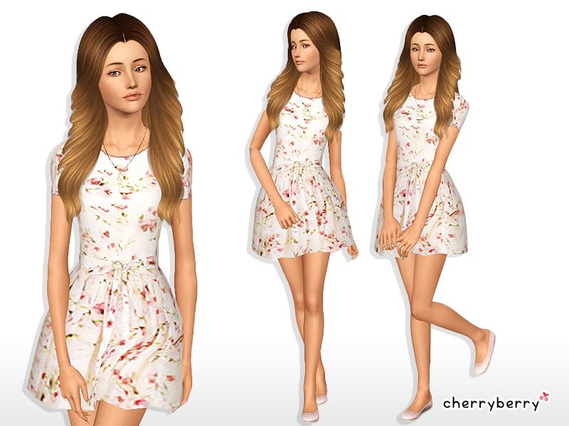CherryBerrySim's Beige floral dress