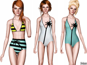Sims 3 — Fashion Set 8 by zodapop — Opt for swimwear that proves your sims' style credentials by choosing this palm tree