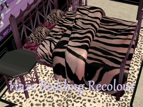 Sims 2 — Haze Bedding Recolour by staceylynmay2 — Light purple with blank zebra print bedding and pillows, dark purple