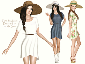 Sims 3 — Farm Daughters Set by Ms_Blue — A Set consisting of a light dress and hat fitting for any fun loving country