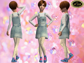 Sims 2 — ASA_Dress_93_CF by Gribko_Sveta — Striped jacket with a jeans sundress for girls TS2