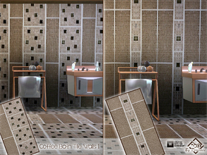 Sims 3 — Coffee Bath Tile Walls 1 by Devirose — 2 walls in 1 file-Ideal for modern bathrooms or kitchens.Base Game