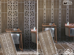 Sims 3 — Coffee Bath Tile Walls 2 by Devirose — 2 walls in 1 file-Ideal for modern bathrooms or kitchens.Base Game