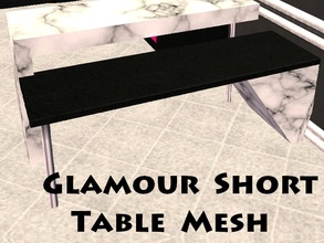 Sims 2 — Glamour Short Table Mesh by staceylynmay2 — Black 3 seater table that fits onto the tall white table.