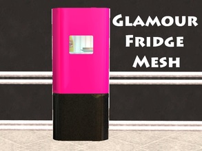Sims 2 — Glamour Fridge Mesh by staceylynmay2 — Half pink half black with white marble side and back to match the