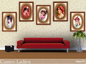 Sims 3 — Cameo Ladies by ziggy28 — A set of 5 vintage paintings in the style of a cameo with various ladies. One file