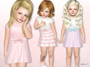 Sims 3 — Little lady dress for toddlers by CherryBerrySim — Little lady dress with beautiful satin bow for toddler girls.