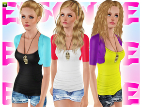 Sims 3 — Snezhe by simseviyo — New cute outfit with a tank to, jean shorts and a cute owl necklace