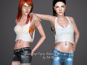 Sims 3 — Sheer Crop Top with Bikini Top by Ms_Blue — Just a little something for summer. Great for a warm summer day on