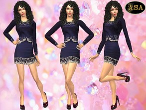Sims 2 — ASA_Dress_118_AF by Gribko_Sveta — Navy blue dress with trim for women TS2