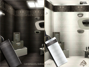Sims 3 — Contemporary Bathroom Wall 2 by Devirose — Two walls inside.Elegant and chic, ideal for bathrooms and modern