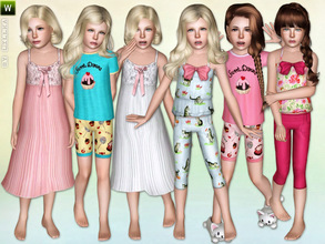 Sims 3 — Girls Sleepwear - Set by lillka — This 5 part sleepwear set includes: Summer Nightgown, Ribbon Pajama-Top,