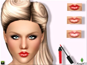 Sims 3 — Retro Shine Gloss by Margeh-75 — -A glamorous shiney lipgloss -2 recolourable channels -adjust shine feature