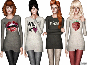 Sims 3 — Fashion Set 12 by zodapop — In a soft knit, these graphic jumpers make perfect pieces for adding a cozy finish