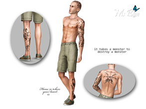 Sims 3 — Male Tattoo Set 01 by Ms_Blue — Set of 3 male tattoos + one with all the tattoos together. First is a left arm