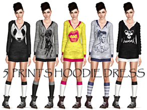Sims 3 — 5 Prints Hoodie Dress by Ms_Blue — Hoodie Dress with 5 different prints. Great for many occasions, sports,