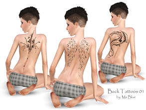 Sims 3 — Back Tattoos 01 by Ms_Blue — 3 back tattoos for your simmies. Angel wings, dragon and well... abstract spine