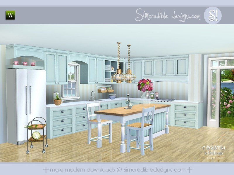 Simcredible 39 s coastal kitchen for Sims 3 kitchen designs