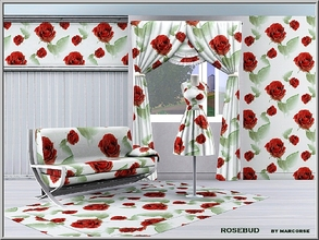 Sims 3 — Rosebud_marcorse by marcorse — Fabric pattern: elegant red rose buds on white