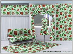 Sims 3 — Rosebud Scatter_marcorse by marcorse — Fabric pattern: red rosebuds and green leaves in a scatter design