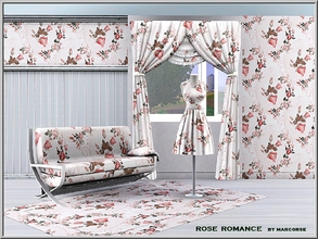 Sims 3 — Rose Romance_marcorse by marcorse — Fabric pattern: red rosebuds and leaves in a faded cameo frame