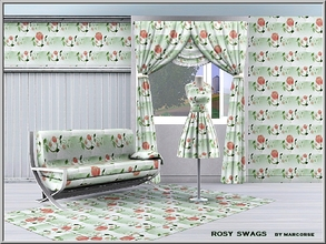 Sims 3 — Rosy Swags_marcorse by marcorse — Fabric pattern: red rose swags on green