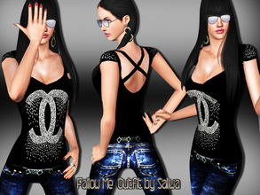 Sims 3 — Fallow Me Outfit by saliwa — Full accessorry design with fashion skinny jeans by Saliwa