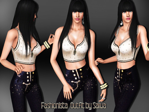 Sims 3 — Fashionista Outfit by saliwa — Special Design Skinny Jean and Crop Top designed by Saliwa
