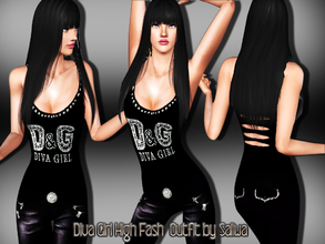 Sims 3 — Diva Girl Outfit by saliwa — Special design top and skinny leather pants with accessories designed by Saliwa