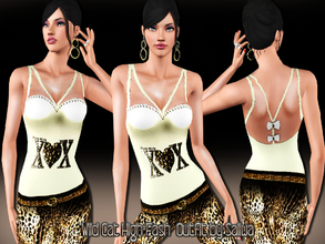 Sims 3 — Wild Cat High Fashion Outfit by saliwa — Leopard Detail Skinny Tights and embellished crop top designed by