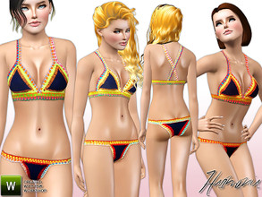 Sims 3 — Harmonia Set 172 by Harmonia — Handmade Crochet Bra Top and Hipster Bottom