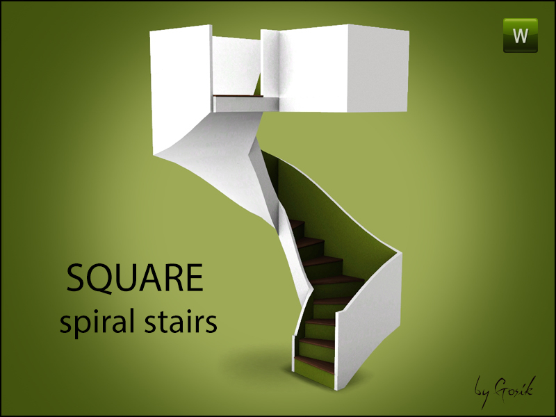 Gosik 39 s square spiral stairs for Spiral staircase square