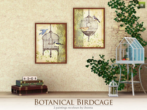 Sims 3 — Botanical Birdcage by Lhonna — Set of 2 wall hangings with vintage bird cages (and birds of course ;)). The