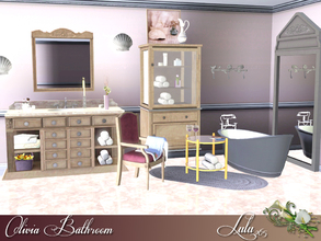 Sims 3 — Olivia Bathroom by Lulu265 — A burnished cast-iron tub, silver decor, and a vintage pharmacy cabinet give this
