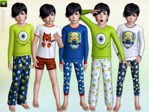 Sims 3 — Boys Sleepwear - Set by lillka — This 6 part sleepwear set includes: Minion Pajama, Grrr! Pajama and Monsters