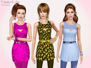Sims 3 — TeenLife by Paogae — A nice and funny outfit for your teen females, includes leggings and blouse with belt. Teen