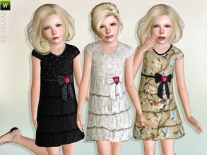 Sims 3 — Fuzzy Spangle Tiered Dress by lillka — Fuzzy Spangle Tiered Dress Everyday/Formal 3 styles/recolorable Mesh by
