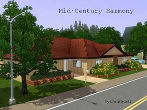 Sims 3 — Mid-Century Harmony by Christina51 — Inspired by Hiawatha T. Estes Harmonious Home Plan No. 3748, this