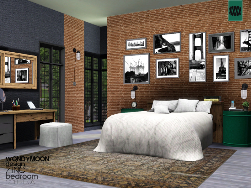 Wondymoon 39 s zinc bedroom for Bedroom designs sims 4