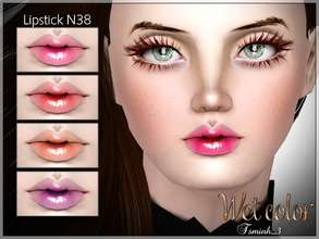 Sims 3 — Wet Color Lipstick by TsminhSims — Lipstick N38 - Glossy lipstick - Four recolor chanels - For all genders, from