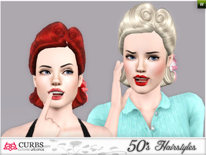 Sims 3 — curbs 50s hairstyles03v2 by Colores_Urbanos — retro hairstyle for teens and young adults. From Paraguay with