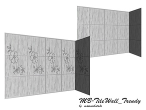 Sims 3 — MB-TileWall_Trendy by matomibotaki — MB-TileWall_Trendy, two tile walls in a set, one solid wall with 2 and one