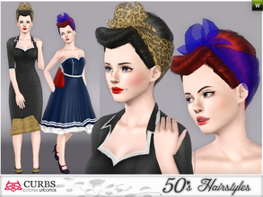Sims 3 — curbs 50s hairstyles04 by Colores_Urbanos — organza scarf. retro hairstyle for teens and young adults. From