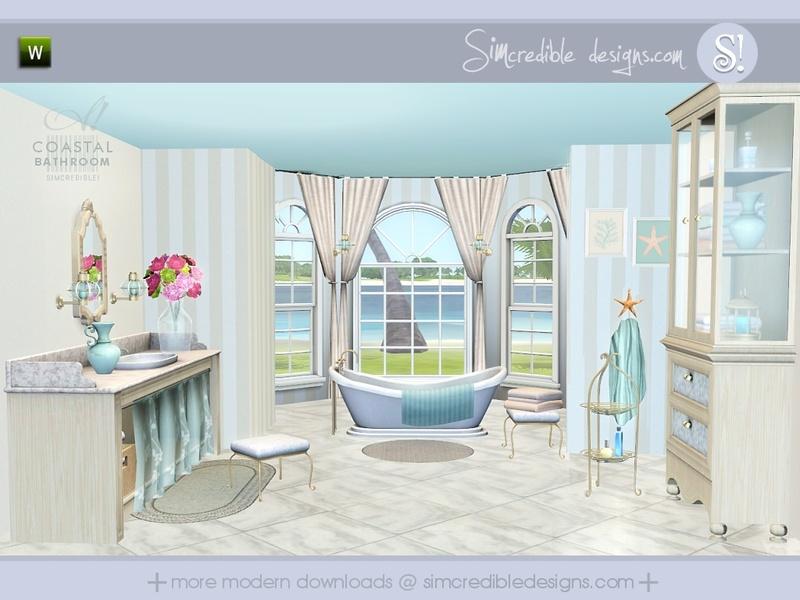Simcredible 39 s coastal bathroom for Bathroom ideas sims 3